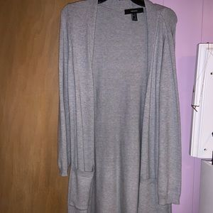 Forever 21 long grey cardigan